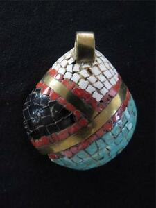 NAVAJO HAND MADE BRASS AND STONE  PENDENT 2 INCHES X 2 INCHES
