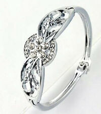 PLATINUM PLATED AUSTRIAN CRYSTAL FLOWER BANGLE