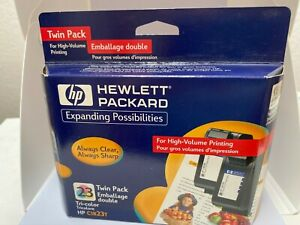 HP 23 Ink Cartridge Tri-Color Magenta Yellow Cyan Twin Pack EXPIRED 2002 Sealed