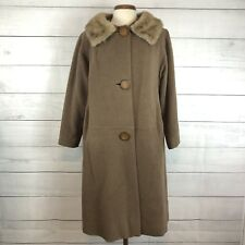Gimbels Camel Vintage Coat Virgin Wool Fur Collar Button Front Women's L/Xl