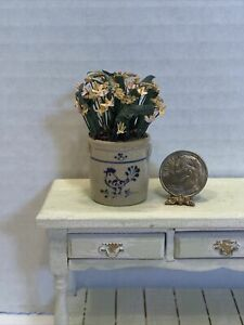 Vintage Dual Artist JANE GRABER 96 Crock Filled Flowers Dollhouse Miniature 1:12