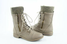 Women's Round Toe Lace Up Low Flat Heel   Military Mid Calf  Boot Shoes All Size