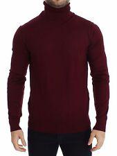 NWT $740 DOLCE & GABBANA Bordeaux Silk Cashmere Turtleneck Sweater Top IT48 / M