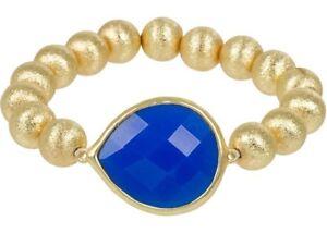 NEW Trendy Royal Blue Faceted Teardrop Goldtone Stardust Bead Stretch Bracelet