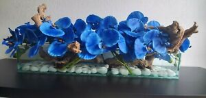 Artificial Orchids and Natural Wood Floral Arrangement in Glass Vase