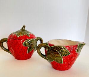 Majolica Strawberry Shaped Figural Creamer And Lidded Sugar Ceramic