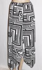 TEMT Designer Black White Pattern Asymmetrical Hem Long Skirt Size L BNWT #SP61