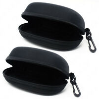 2-Pack Sunglasses Hard Case Eye Glasses Black Clam Shell Zipper With Hook
