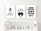 Baby Boys / Girls Monochrome Nursery Prints / Bedroom Decor Pictures Wall Art