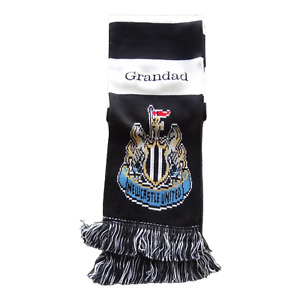 PERSONALISED NEWCASTLE SCARF - NAME EMBROIDERED - FAB GIFT FOR ANY FAN NUFC