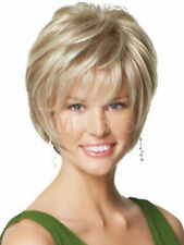 100% Cheveux Naturels Mode Femmes Court Raide Blonds Perruques Parrucca Peluea