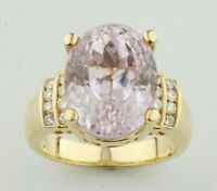 Kunzite Solitaire with Diamond Accents 18k Yellow Gold Ring Size 6.75
