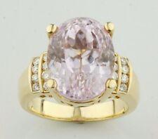 18K Oro Giallo 12.94 Kt Kunzite Solitario Anello W/Diamante Accenti Misura 6.75