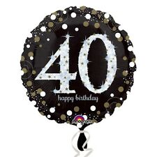 Black and Gold Celebration 40th Birthday Foil Helium Balloon