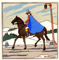 1930s French Pochoir Max Ninon Print Art Deco Victorian Horseman Crier On Road