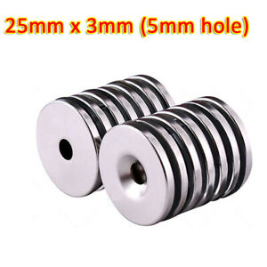 25mm x 3mm (5mm hole) Rare Earth DIY Strong Ring Neo Neodymium Disc Round Magnet