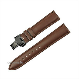 Brown Grain Leather Push Button Deployment Black Clasp Watch Band Strap 22mm