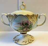 ANTIQUE R.S. PRUSSIA RED MARK DOUBLE HANDLED LIDDED FOOTED SUGAR DISH * RARE