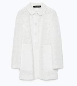 ZARA White Embroidered Lace Broderie Anglaise Structured Jacket Coat Size Small