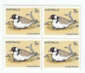 1978 AUSTRALIA 'BIRDS DEFINITIVE ISSUE-HOODED DOTTEREL' MNH BLOCK 4 X 5c STAMPS