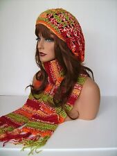 ORANGE GREEN MULTI CROCHET RASTA HAT AND SCARF SET BERET CLOCHE BAGGY SLOUCHY