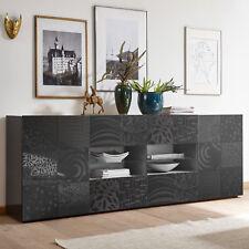 Sideboard Miros 8 Anrichte Kommode 241 cm anthrazit Hochglanz Lack mit Siebdruck