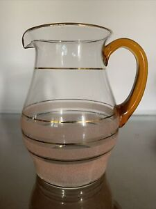 Vintage: Pink Sugar Frosted Glass Jug - Excellent Condition