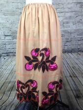 Womens Maxi Skirt L/XL Embroidered Floral Patchwork Boho Skirt