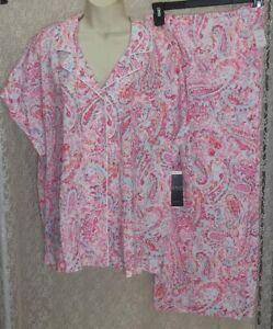 Ralph Lauren 3X crop Pajamas top/pants short dolman sleeve Pink/Aqua Paisley New