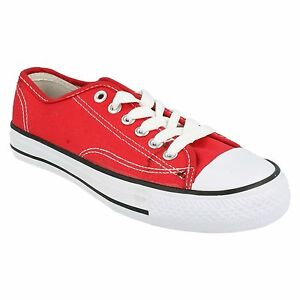LADIES SPOT ON CANVAS LACE UP LOW TOP CASUAL BASEBALL TRAINERS SHOES X0001 RED