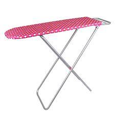 Simon 7258 Kinder-Bügelbrett mit Metall-Gestell klappbar Punktedekor Pink