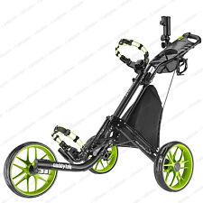 CaddyTek EZ-Fold 3 Wheel Golf Push Cart Golf Trolley -Lime **NEW**