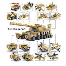 Inteligent Educational Building Blocks Toys Set Army Military Craft 16 in 1 Tank