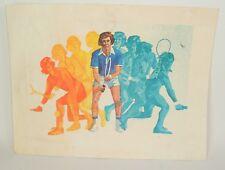 Vintage Tennis Giacomini 14X18 Colorful Watercolor Tennis Art Print