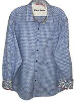 Robert Graham 2XL shirt blue paisley gingham check floral flip cuff tailored fit