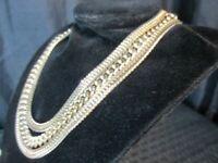Vtg Monet 3 Strand Necklace Bracelet Set Foxtail Chunky Chain Link Gold Tone