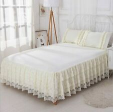 Lace Bed Skirt 3 Pieces of Solid Color Bedding Princess Mattress King Size