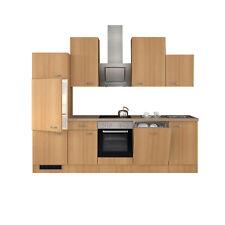 Küchenzeile mit Geschirrspüler Küchenblock Einbauküche Elektrogeräte 280cm buche