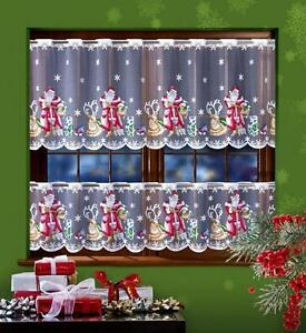 CHRISTMAS CAFE NET CURTAIN-SANTA CLAUS-TWO DROPS-SOLD BY METERS