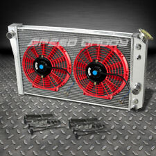"3-ROW ALUMINUM RACING RADIATOR+2 X 10""RED FANS 82-02 CHEVY/CHEVROLET S10/S-10 V8"