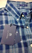 NWT Gant Rugger Men's Cotton Linen Fitted Indigo Oxford Plaid Sport Shirt Large