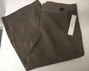 NWT Women's Sz 6  ANN TAYLOR LINDSAY Brown CROP Pants $78.00 Striped G14