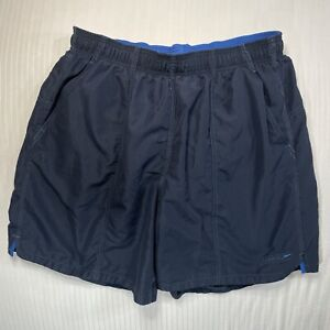 Speedo Mens XL 34 Navy Blue Swim Trunks Board Shorts Back Pocket