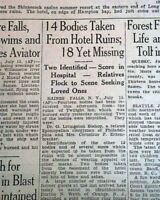 TWILIGHT INN Haines Falls Greene County NY New York FIRE Disaster 1926 Newspaper