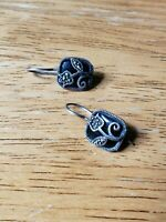 925 Sterling Silver and Black Square Tulip Dangle Earrings