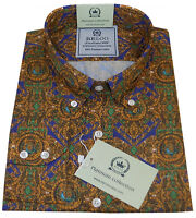 Relco Men's Yellow Paisley Floral Long Sleeve Button Down Gold Mod 60's Shirt