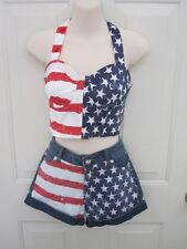 Custom USA Flag Denim Stars Stripes Dance Competition Costume Small Adult 25 AS