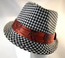 Child Toddler Trilby Fedora Hat BLACK AND WHITE SMALL CHECK summer occasion wedd