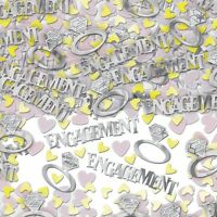 1 PACK ENGAGEMENT CONFETTI / TABLE SPRINKLES SILVER COLOUR TABLE DECORATIONS