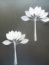 5 x Bunches 12 Ivory  Silk Artificial leaves on stems (60) leaves